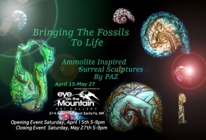 "Paz presents surreal sculptures inspired by Ammonites in the show called ""Bringing the Fossils to Life"""