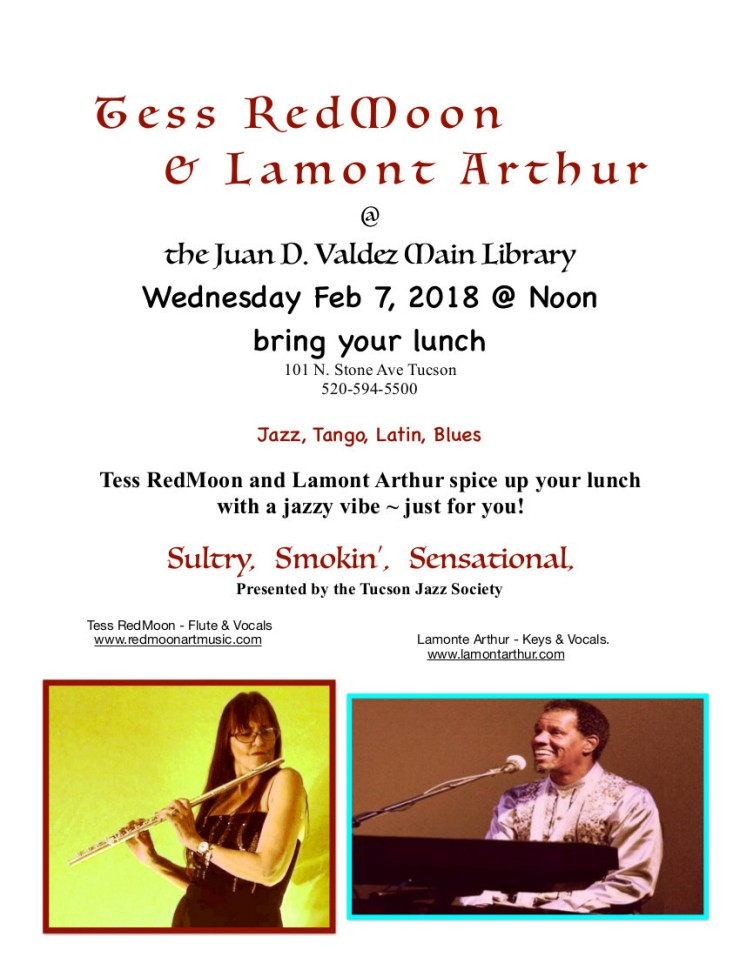 Flyer Tess & Lamont Library gig copy